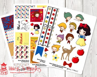 Snow White Fan Art Sticker Set for The Happy Planner | Planner Stickers | Planner Accessory