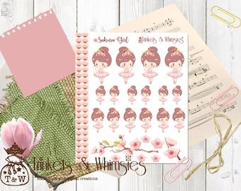 Cherry Blossom Sakura Girl Stickers   Planner Accessory
