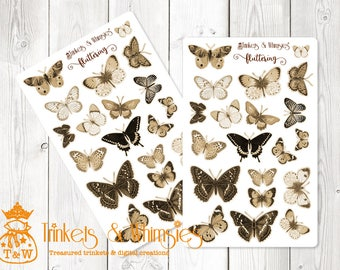 Fluttering Sepia Butterfly Planner Stickers