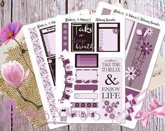 Relaxing Lavender Sticker Set for Erin Condren Vertical Life Planner   Planner Accessory