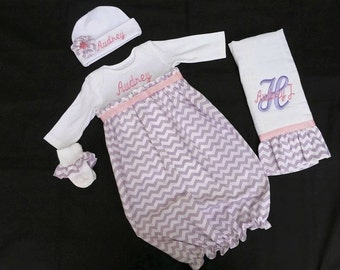 38ee9891f Personalized Newborn/ Infant Lavender Chevron with Pink Dot Take Me Home  Gown Set (Lavender and Pink Color)