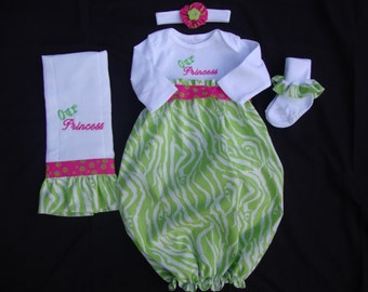 Personalized Newborn/ Infant Chevron Take Me Home Gown with Matching Headband, Burp Cloth & ruffled socks (Lime Zebra Print and Pink Accent)