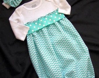 Newborn/ Infant Chevron Take Me Home Gown with Matching Headband in Aqua Color