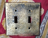 Vintage Speckle Brass Double Light Switch Cover