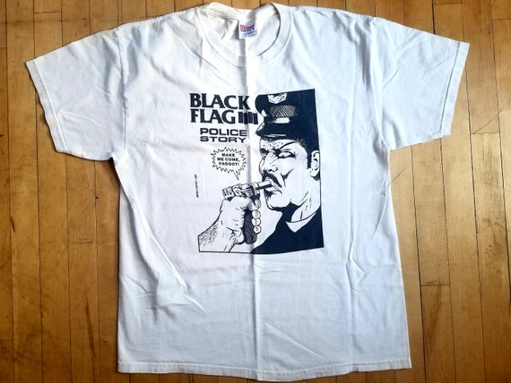 "1981 Black Flag ""Police Story"" Shirt Sz L"