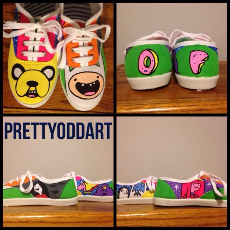 00e16f2ee9101 Adventure Time with Odd Future Logo Hand Painted Shoes/Vans