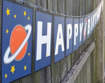 Space Astronaut Happy Birthday Banner