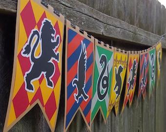 Wizarding School Houses XLGx2 Home Decor Banner