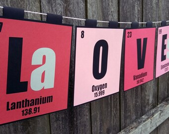 Periodic Table Love You Banner for Valentine's Day