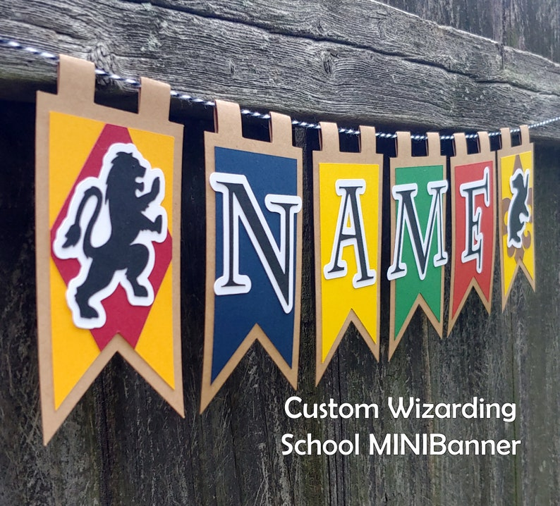 Wizarding School Custom Name Birthday Party MINIBanner or Gift image 0