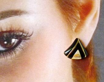 Avon Enamel Earrings are Vintage Classics, Signed Designer Vintage Pierced Earrings are Softly Rounded Rectangles in Black & Gold