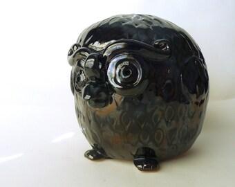 Black Owl, Studio Pottery, Folk Art, Ceramic Owl, Bird Figurine, Owl Lover Gift, Hand Built, Artisan Sculpture, Wedding Gift, Gift for Him