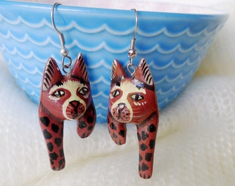 Handmade Jewelry are Lightweight Wooden Hand Painted Cat Dangle Earrings, Orange Black Cream, Signed with a C in circle for Copyright