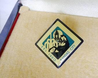 Vintage Enamel Lapel Pin EEI 1990 Kansas City Enterprise Engineering Inc, 1990 Epoxy EEI Trading Pin