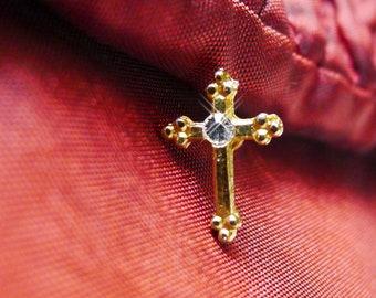 Rhinestone Cross Jewelry, Small Trinity Cross Pin in Gold Tone Metal for First Communion Church or Sunday School Lapel Pin Tie Tack