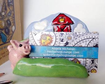 Modern Farmhouse Handmade Business Card Holder with Barn and 3D Speckled Pink Pig, Pig Business Card Holder, Farm Decor Office
