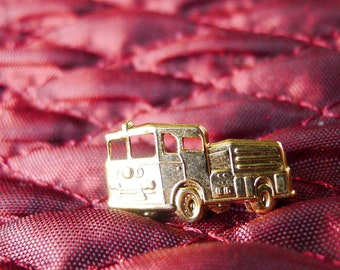 Fire Engine Lapel Pin, Fireman Contemporary Vintage Jewelry Gift for Him
