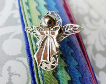 Guardian Angel Lapel Pin in Filigree and Polished Silver Metal w Bow and Wings, Modern Heavenly Angel Jewelry for Him Her or Children