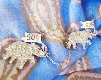 Lead or Follow Elephant Republican Vintage Jewelry, Sparkling Rhinestones in Silvertone Metal & GOP Flags, Separate Clasps, Joined w a Chain