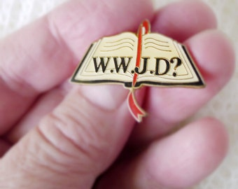 What Would Jesus Do Christian Enamel Pin with Epoxy Coating, Open Bible WWJD Reward Award Sunday School Question for Children and Adults