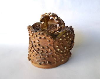 Handmade Pottery is a Kiln Kissed Heavily Textured Box with a Separate Lid, High Fired and Hand Built by the Hedgehoglounge