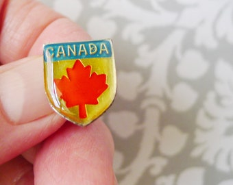 CANADA Maple Lapel Pin is Epoxy Enamel Over Mirror Backing w Single Straight Pin and Clutch Back Closure Contemporary Vintage Jewelry
