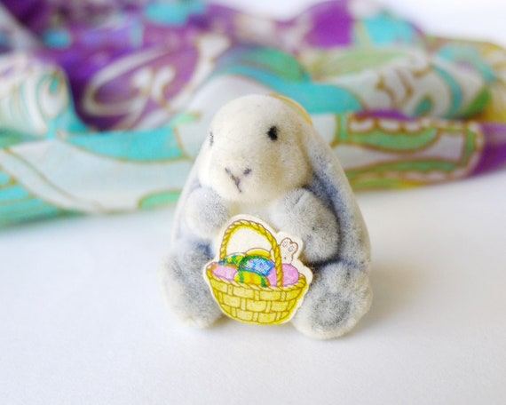 Fuzzy Bunny With Hat Patch Rabbit Easter Fluffy Embroidered Iron On Applique