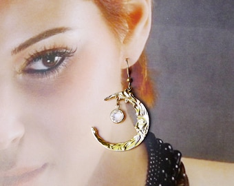 Half Moon Dangle Earrings are Polished Gold Tone w Man in the Moon and Sparkling Dangling Bezel Set Clear Crystal, Vintage Pierced Earrings