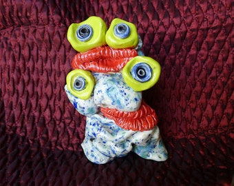 Two Headed Monster Figurine is Ready to Ship Studio Pottery Which is All Hand Built w Clay Kiln and Glazing Techniques
