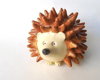Handmade Studio Pottery Hedgehog is a One of a Kind Animal Sculpture, Wonderful Hedgehog or Animal Lover Gift