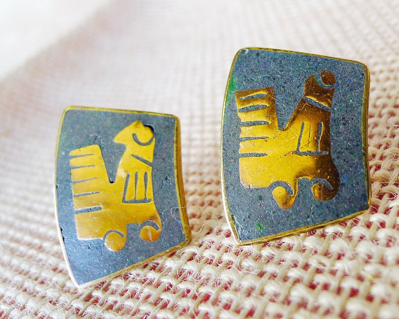 Rare HTF Circa 1940 Mexican Copper Artisan Screw Back Earrings Signed Mexican Vintage Jewelry Signed Cobre Talquepaque Seagull Design