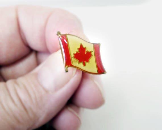 Enamel Canada Flag with Epoxy Coating Red Maple Leaf Flag Canadian Flag Pin One Leafed National Flag Canadian Maple Leaf l/'Unifoli\u00e9
