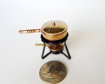 Miniature Camp Stove, Mini Fondue Set, Dollhouse Camp Stove, Dollhouse Fondue, Pot Lid & Sterno Pot, Outdoor Stove Kit, Shadow Box Miniature
