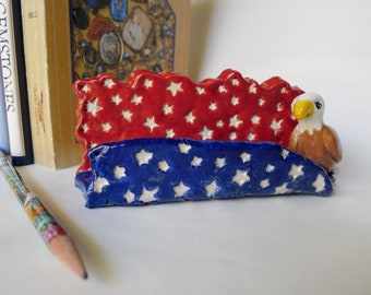 Business Card Holder with American Eagle All Handmade Office Decor, One of a Kind Patriotic Office Accessory United States Flag