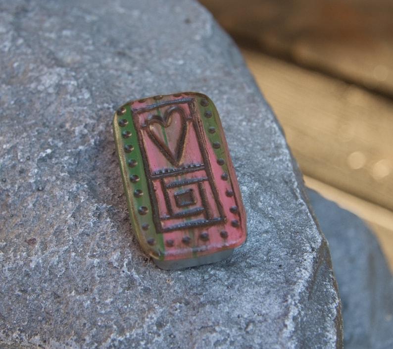 Sliding Pill or Stash Box Pink and Green Folk Heart