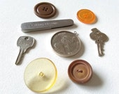 Jewelry Pieces, Buttons, Keys and A Advertising Pocket Knife for Arts and Crafts 8 Pieces Metal and Plastic- Magical Findings 9
