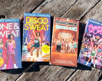 Vintage Richard Simmons VHS Set of 4- Tone and Sweat, Disco Sweat, Sweatin to the Oldies and Sweatin to the Oldies 3- 1990s Exercise VHS