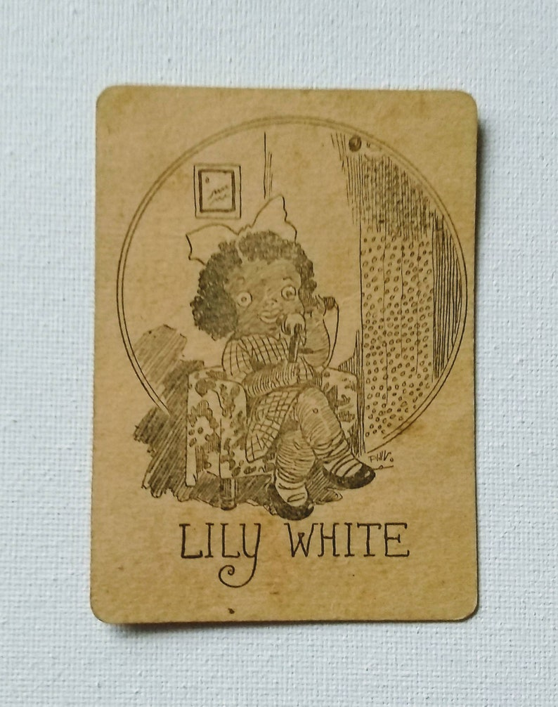 Lily White and Bowery Bill Vintage Old Maid Cards Set of 4 No Color No Coating Mrs Billy Pig Peach