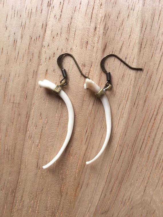 Brass Tops Sterling Silver Posts b.a. Bone Predator Tribal Hanging Earrings Naturally Organic Hand Carved