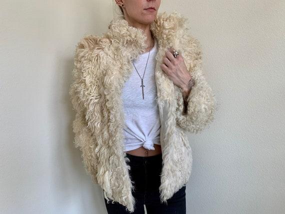 Vintage 1970s Mongolian Fur Coat Penny Lane Coat S