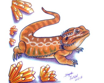 Bearded Dragon Drawing -  Red Dragon With Crystals