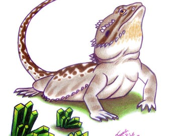 Bearded Dragon Drawing: Green Crystals