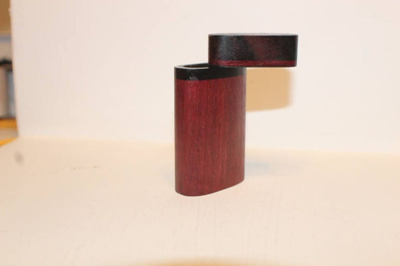 Handmade Dugout Exotic Hardwood Double Composite Inlay Spring Loaded Brass Pipe 3-18 Tall Box A