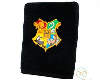 Harry Potter Bath Towel - Hogwarts Crest Logo - Embroidered Bathroom Towel and Decor
