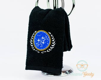Star Trek Hand Towel - United Federation of Planets - Embroidered Geeky Bathroom Towel or Kitchen Decor