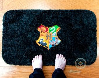 Harry Potter Bath Mat or Rug - Hogwarts Crest Logo - Geeky Embroidered Bathroom or Kitchen Decor