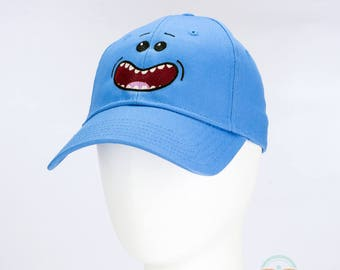 Rick and Morty Hat - Mr. Meeseeks - Geeky Embroidered Cartoon Baseball Cap (One Size)