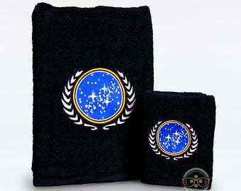 Star Trek Bath Set - United Federation of Planets - Bath Towel and Hand Towel Set - Geeky Embroidered Bathroom Towel Decor