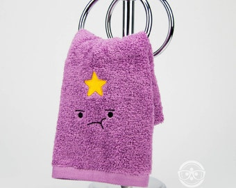 Adventure Time Hand Towel - Lumpy Space Princess (LSP) -  Embroidered Geeky Bathroom Towel or Kitchen Decor