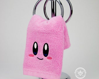 Kirby Hand Towel -  Geeky Embroidered Video Game Bathroom Towel & Kitchen Decor